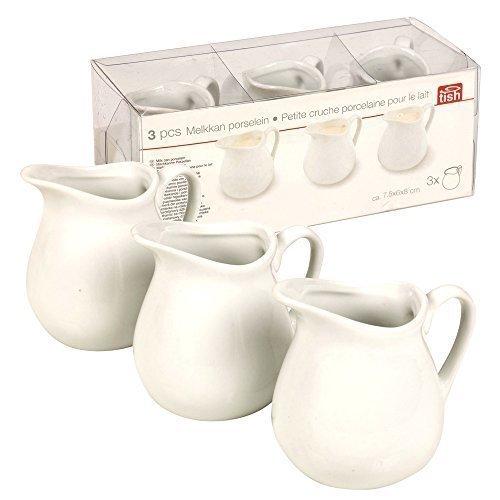 Bricco per latte in porcellana 3 pezzi, panna, per salse, ketchup & per condimento insalata