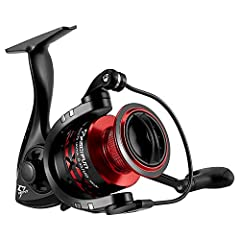 Exquisite Appearance - The matte black body paired with red aluminum spool, perfectly indicate its name Flame. You will be flattered by having this sharp and modern spinning fishing reels with unique hollow body, X shape spool and personalized handle...