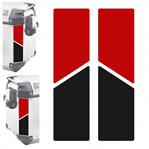 2 adhesivos reflectantes bicolores compatibles con maletas laterales Givi Trekker Outback 37L 48L (rojo-negro)