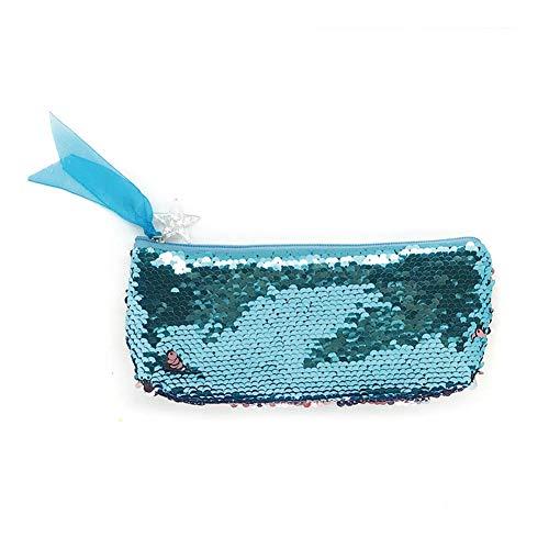 Ruikey Bolsa De Maquillaje Lentejuelas Bolsa De Cosméticos Sirena Bolsa De Cosméticos Organizador Organizadores De Bolsos con Cremallera Bolsas De Aseo Niña Escolar(Azul)