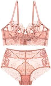 SHEKINI Mujer Sexy Perspectiva de Encaje Conjunto de Lencería Sujetador con Aros y Bragas Bordado de Flores Ropa Interior Conjuntos(Rosa,36C)