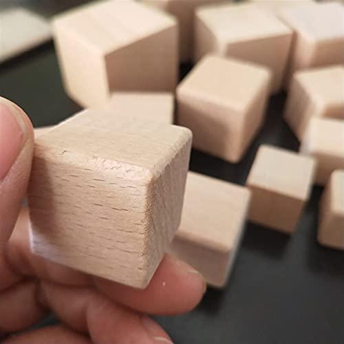 Cubes en bois for arts et artisanat DIY Blocs de photos Blocs de bois naturels inachevés (Color : Fillet angle, Size : 5pcs 2.5cm)