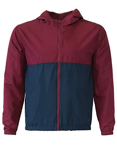 Global Blank Kids Hooded Lightweight Windbreaker Water Resistant Jacket Blue Maroon XL