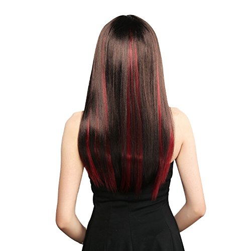 Neitsi 10pcs 18inch Colored Highlight Synthetic Clip on in Hair Extensions #F03 Red Wine