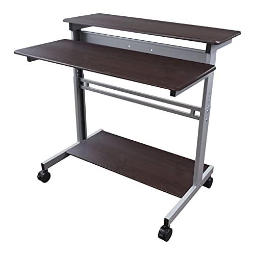 Stand Up Desk Store Rolling Adjustable Height Two Tier Standing Desk Computer Workstation (Silver Frame/Dark Walnut Top, 40' Wide)