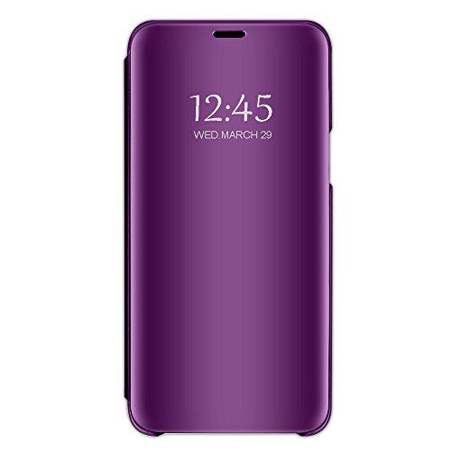 Compatibel met iPhone 8 hoesje, iPhone 7 hoesje, spiegel, telefoonhoesje van PU-leer, flipcase, bescherming, echt leer, etui, leren hoesje, beschermhoesje van echt leer, hoesje voor 7/8 Plus. iPhone 7 Plus (lila/violet)