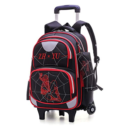 LINLIN Spiderman Childrens Luggage Bag, Carry On Large Capacity Trolley Suitcase, Kids Deluxe Lighweight Wheeled Backpack and Pouch for Boys,Red-Two wheels