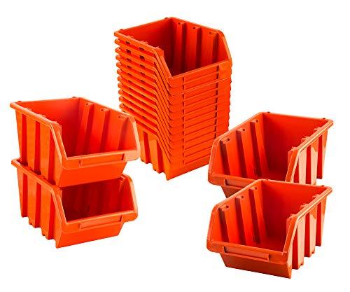 BigDean Sichtlagerboxen Set 16 Stück Orange Größe 4 23x16x12 cm - nestbar & stapelbar - Ordnungssystem für Werkstatt, Keller & Garage