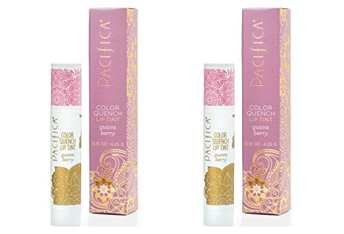 Pacifica Guava Berry Color Quench Lip Tint (Pack of 2) with Coconut Oil, Soy Wax, Candelilla Wax, Cocoa Seed Butter, Avocado Oil and Rosemary Leaf Extract, 100% Vegan and Gluten-Free, 0.15 oz.