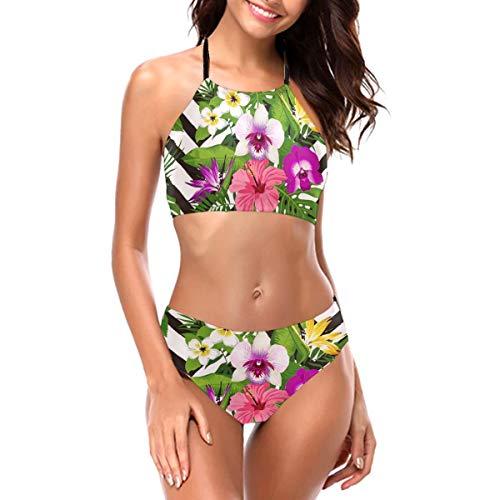 RTBB - Conjunto de bikini para mujer con impresión 3D, diseño de flores tropicales en zig zag (2 piezas) Negro Negro ( L
