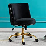 Merax Comfortable Home Office Desk Chairs Velvet Armless with Swivel Function for Computer Task, Living Room or Bedroom, Black