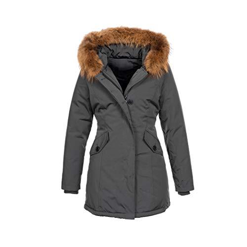 Elara Damen Winterjacke Echt Fell Mantel Chunkyrayan 6015 Grau 36/S