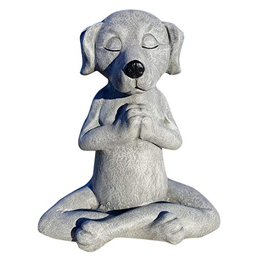 Dog Statue Zen Yoga Relaxed Pose Buddha,Funny Guy Solid Durable Stone. Perfect for Home, Garden or Gift. Sealed for Outdoor Use