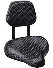 LSSJJ Zadel, Comfortabele fietsstoel, Schokabsorberende Memory Foam Fietszitje met Rugsteun PU Lederen Cover Fietsaccessoires Onderdelen