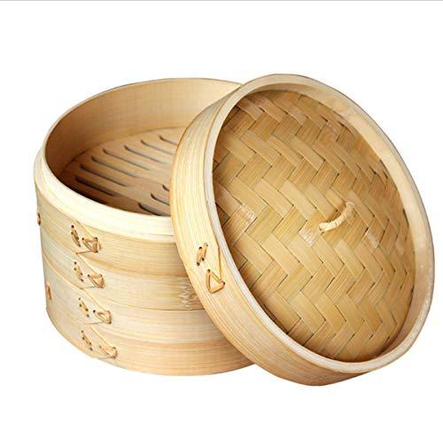 Dämpfkorb aus natürlichem Bambus, 2-stöckiger Lebensmittelkorb, chinesischer Stil, Kochgeschirr im asiatischen Stil, ideal für Teigtaschen, Gemüse, Huhn, Fisch, 25,4 cm