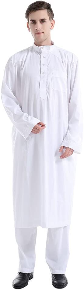CHUANGFU Men's Muslim Robe, Solid Color Muslim Wear Calf Length and with Pants Long Sleeves Arab Thobe