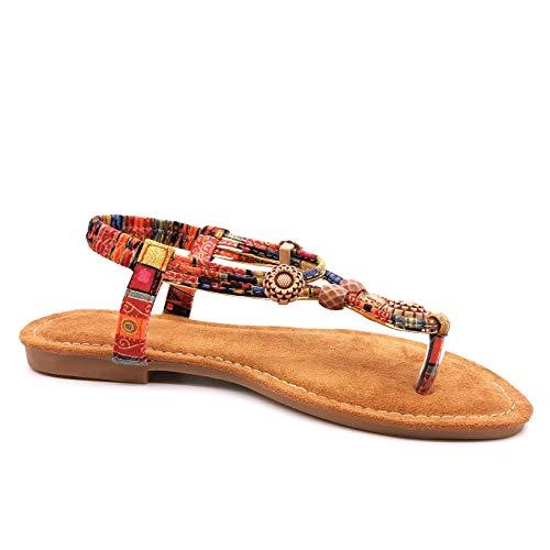 Angkorly - Damen Schuhe Sandalen Sandalen - Strand - Böhmen - Hippie - Hipster - elastisch - Perle - Aztekenmuster Blockabsatz 1.5 cm - Rot 5 S155 T 38