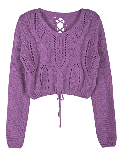 PrettyGuide Women Eyelet Cable Knit Lace Up Crop Long Sleeve Sweater Crop Tops Mulberry XS