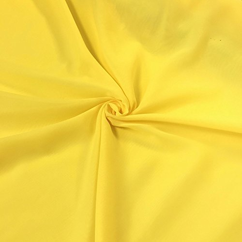"""Solid Chiffon Fabric Polyester Dress Sheer 58"""" Wide by The Yard All Colors (1 Yard, Neon Yellow)"""