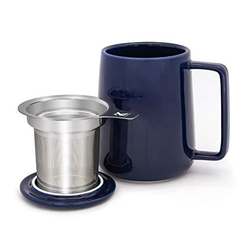 KitchenTour Porcelain Tea Mug with Infuser and Lid - Large Capacity Mug with Infuser Basket - 20oz, Navy