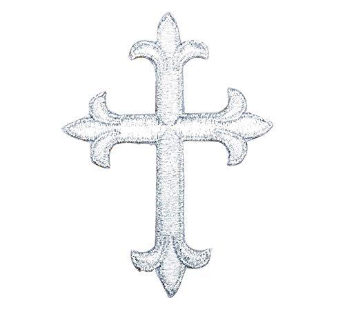 Cross - Metallic Silver - Fleur de lis - Religious - Embroidered Iron on Patch