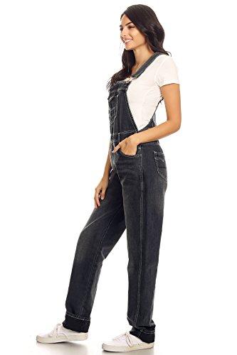 Women's Vintage Wash Straight Leg Denim Overalls with Pocket Bib 6