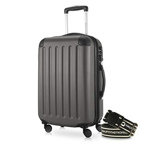 Hauptstadtkoffer - Spree Handgepäck Kabinentrolley Bordgepäck Hartschalen-Koffer, sehr leicht, TSA, 55 cm, 42L, Graphit +Gepäckgurt