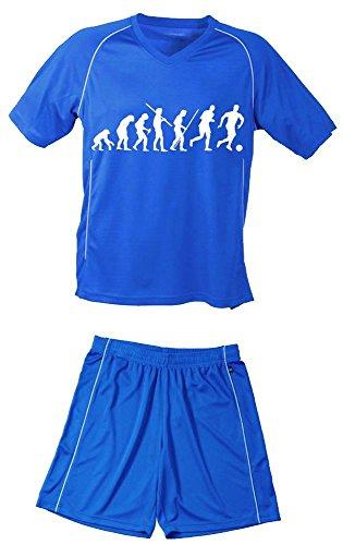 Coole-Fun-T-Shirts TRIKOTSET mit DEINEM Namen + Nummer ! Fussball Evolution Kinder Trikot + Hose blau-blau, 122-128 cm
