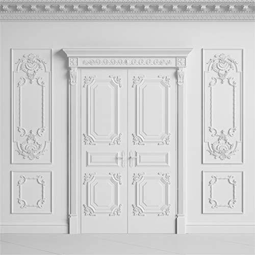 Leyiyi 10x10ft Vintage Room Inside Backdrop European Frame White French Door Modern Castle Cementery Wall Office Meeting Hall Photo Background Cowboy Kids Birthday Portrait Studio Prop Vinyl Wallpaper