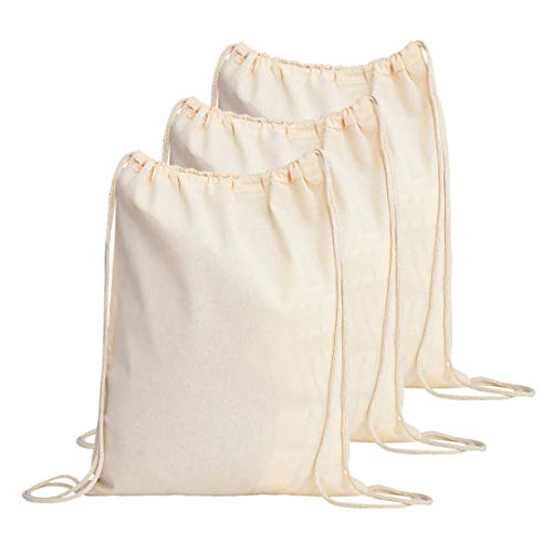 TBF Cotton Drawstring Backpack Gym Sack Canvas Cinch Sport Pack for Men, Women - Set of 3, Natural