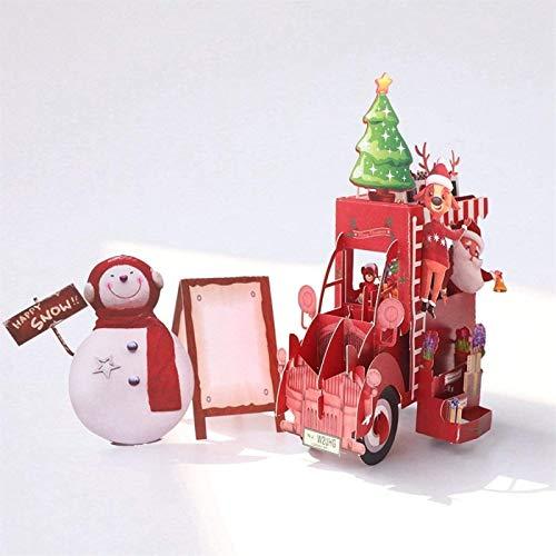 KEEBON 3D handgemachte Karten Schneemann Santa Claus Weihnachten Blume Auto Papier Einladung Grußkarten Postkarte Neujahr Party Kreative Geschenk
