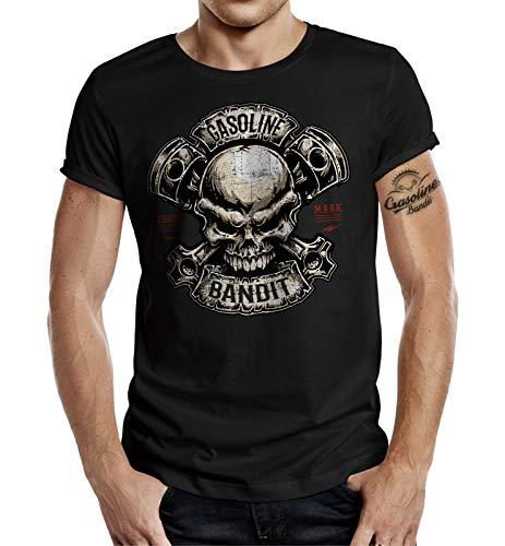 Gasoline Bandit Biker Racer T-Shirt - Piston Skull L