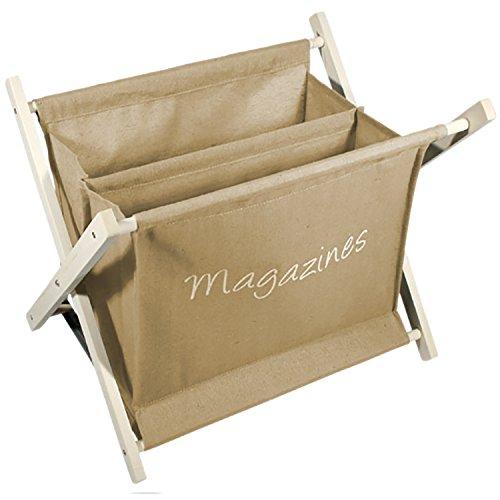 Mojawo Zeitschriftenständer Zeitungsständer Zeitungskorb Magazinständer Zeitschriftenhalter Braun Stoff Holz H32xB37xT26cm