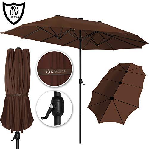 Kesser® Sonnenschirm Doppelsonnenschirm | Gartenschirm | Marktschirm | Terrassenschirm mit Handkurbel | Oval | Aluminium | UV-beständig | wasserabweisenden | Braun