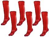 Rainbow Socks - Niño Niña Calcetines Fútbol Largos - 6 Pares - Rojo - Talla 30-35