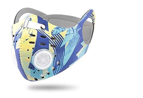 ROXX (Yellow-Blue Graphics) Outdoor Cycling Neoprene Camo Mask with Changeable Filter, Unisex Anti Pollen Allergens PM2.5 Filters Dust Includes Filter and Bonus