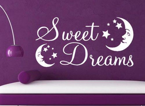 Graz Design Sticker mural pour enfant Motif Sweet Dreams avec lune, vert pomme, -MEDIUM -SIZE 90cm x 40cm
