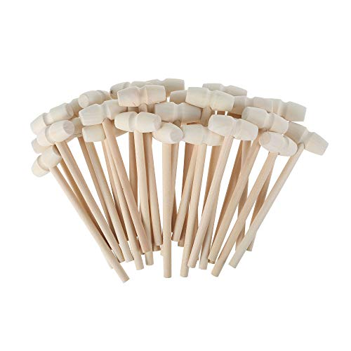 30 piezas Mini martillo de madera pequeño mazo de cangrejo de madera, langosta, mariscos, mariscos, mariscos, mariscos, postre galleta de chocolate, juguetes para golpear