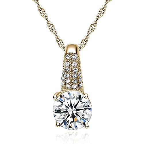 ZIYUYANG, colgante de collar, collar con colgante de circonita plateada, cadena de clavícula, joyería para mujer, regalo de San Valentín, oro