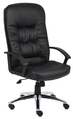 Boss Office Products High Back LeatherPlus Chair with Chrome Base in Black
