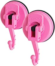 FE-H1044-2PK | 2-Pack | Medium Adjustable Swivel Suction Cup Hook Holds Up to 8 lbs in Pink