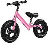 Bicicleta De Equilibrio Para Niños, Bicicleta De Entrenamiento De Deportes Ligeros, Marco Ligero De Acero De Alto Carbono, Asiento Y Manillar De Altura Ajustable, Adecuado Para Niños De 2(Color:Rosa)