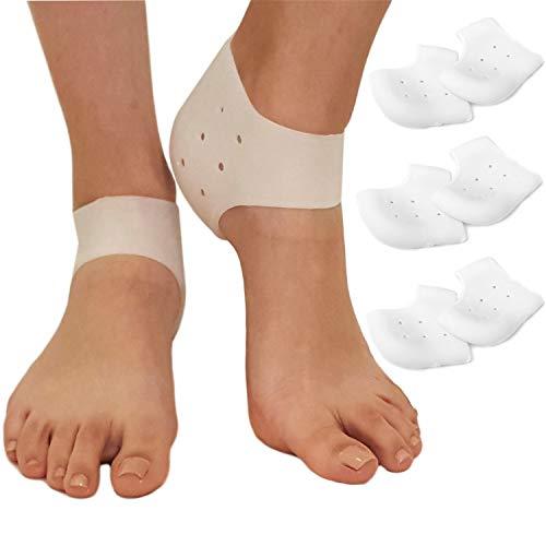 Insertos de fascitis plantar protectores de talón – vasos de gel de silicona para zapatos insertos, cojín ortopédico para el talón y el espolón del hueso, 3 pares de mangas para el dolor de pies, fascitis plantar, 3 mm
