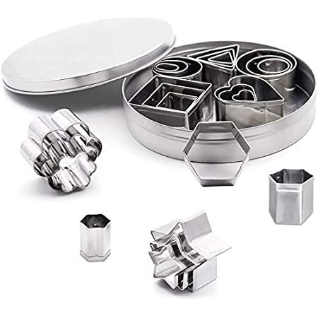 24Pcs Nesting Stainless Steel Various Shapes Mini Cookie Cutters Set XTS