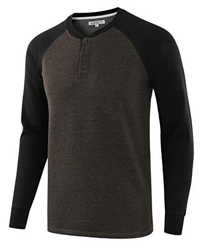 HARBETH Mens Casual Athletic Fit Soft Fleece Baseball Active Sports Sweatshirts H.Charcoal/Black L