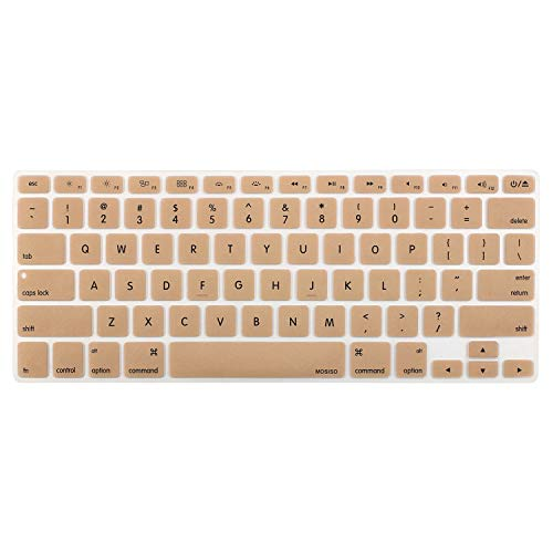 MOSISO Silicone Keyboard Cover Compatible with MacBook Pro 13/15 Inch (with/Without Retina Display, 2015 or Older Version),Older MacBook Air 13 Inch (A1466 / A1369, Release 2010-2017), Gold