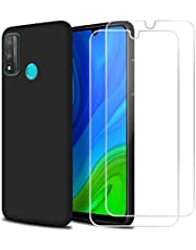 Reshias Funda para Huawei P Smart 2020 con [2 Pack] Cristal Templado Protector de Pantalla,Negro Suave Líquido Silicona Protectora Carcasa para Huawei P Smart 2020 (6.21 Pulgadas)
