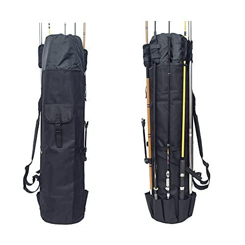 Bolsa portátil para caña de pescar, bolsa de pesca de gran capacidad, capacidad para 5 postes y aparejos, Plegable Bolsa de Pesca Estuche de Oxford (negro)