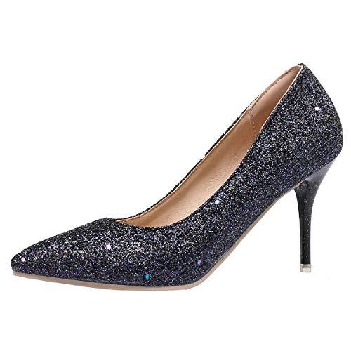 LUXMAX Scarpe Donna Decolte con Tacco Alto Spillo Glitter Paillettes...