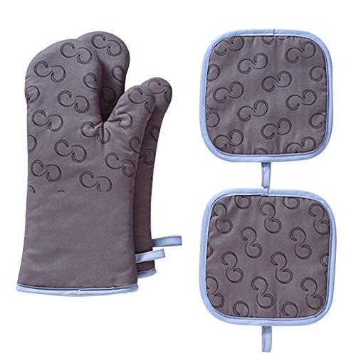IWILCS Ofenhandschuhe und Topflappen Set,Silikon Grillhandschuhe Hitzebeständige Küchenhandschuhe mit 2 Topflappen, rutschfeste Backhandschuhe für die Kochen Backen BBQ